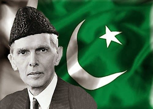 Jinnah with Pakistan flag