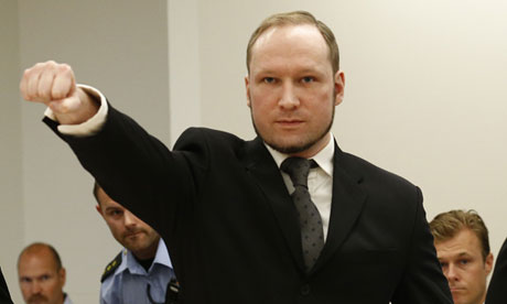 Anders Breivik giving far-right salute in court