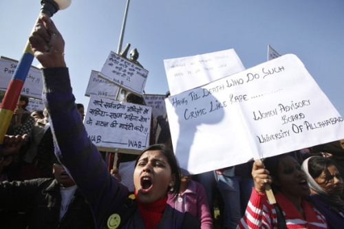 Allahabad_Students hold placards demanding severe punishment for rapists as they condemn the gang-rape of a student in New Delhi during a protest