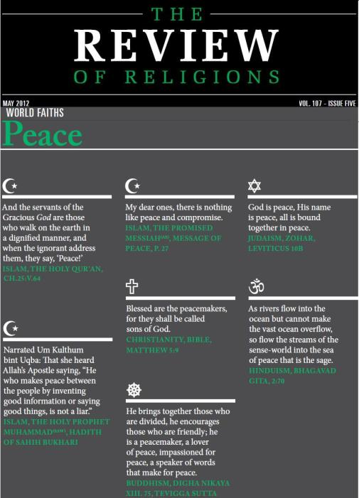 Islam, Christianity, Judaism, Buddhism and Hinduism on Peace