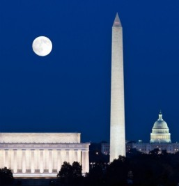 The Washington Monument, along with Lincoln Memorial and Capitol Hill in moonlight