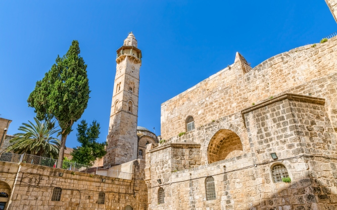 Omer mosque minaret in Jerusalem