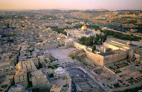 In this aerial view of the Temple Mount in Jerusalem, it is easy to recognize the dome of the rock and the wailing wall