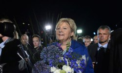 Norway's main opposition leader, Erna Solberg is on course to lead a new centre-right government. Photograph: Ntb Scanpix/Reuters