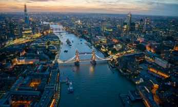 Aerial view of Tower Bridge and the River Thames at night. Photograph: Jason Hawkes/theguardian.com