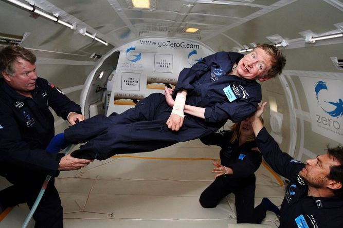 Physicist Stephen Hawking in Zero Gravity, at NASA