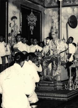 On June 9, 1946, aged just 18, King Bhumibol ascended to the throne following the death of his brother. He postponed his coronation until 1950 to complete his studies in Switzerland, by which time Thailand was under military rule and the future of the monarchy was shaky. The King, who is also known as King Rama XI, is pictured here on May 5, 1950 at his coronation.