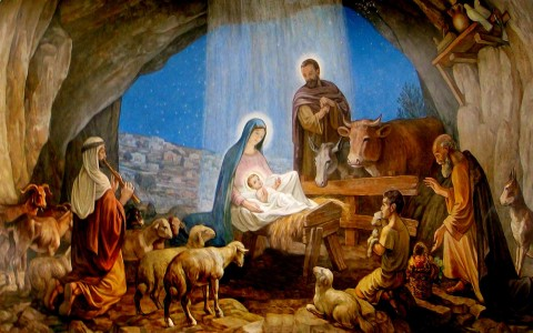 A painting of the nativity scene