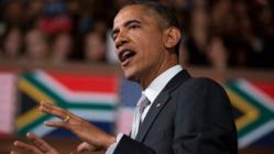 Obama speaking in Mandela's Memorial