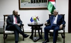 EU Parliament president Martin Schulz, left, meets with Palestinian President Mahmoud Abbas in Ramallah in this Feb. 10, 2014. (AP Photo/Nasser Nasser)