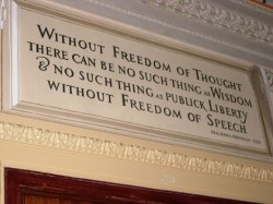 Without freedom of thought there can be no such thing as wisdom & no such thing as publick liberty without freedom of speech, Benjamin Franklin, 1722. For TMT collection on Free Speech, click here
