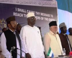 President Ernest Bai Koroma at the 50th Annual Conference of Ahmadiyya Muslim Jama'at Sierra Leone.
