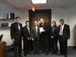 Camil Cerimovic , Rafi Ahmad, Dr. Muhammaed Z Iqbal, Congressman, Tahir Ahmad and Mirza Naseer Ahmad, from left to right