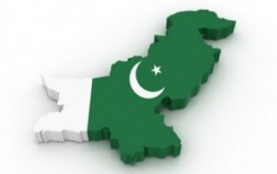 Pakistan map and flag.  The white is supposed to represent the minorities