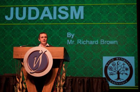 Richard Brown, a Lloydminster resident representing the Jewish faith, speaks to the audience during the Interfaith Symposium at the Vic Juba Theatre this past Friday.