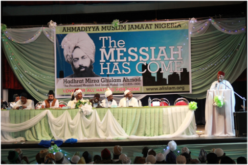 The Imam of Ahmadiyya Movement Nigeria addressing the gathering