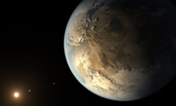 This artist's impression of Kepler 186f reveals a rocky world that could hold liquid water on its surface