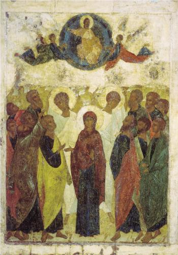 Ascension1408 (Tretyakov Gallery, Moscow) by Andrei Rublev (1360-1430) the greatest medieval Russian painter of Orthodox icons and frescoes.