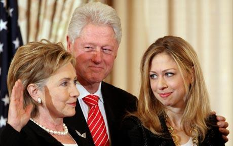 The Clintons: President Bill Clinton, Secretary of State Hilary Clinton and their daughter Chelsea Clinton
