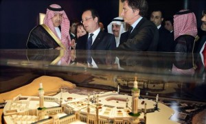 French President Francois Hollande (2nd L) speaks with Saudi Deputy Foreign Minister Prince Abdulaziz bin Abdullah (L) and the Arab World Institute (IMA) president Jack Lang (3rd R) as they visit an exhibition on the Haj, the Islamic pilgrimage to Makkah, at the Institut du Monde Arabe (IMA, Arab World Institute) in Paris on April 22, 2014. (AFP Photo / Philippe Wojazer)