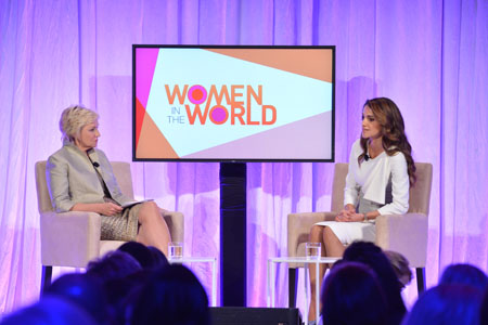 Her Majesty Queen Rania speaks to Tina Brown, founder of Women in the World and CEO of Tina Brown Live Media, at the fifth annual Women in the World Summit in New York on Thursday (Photo courtesy of Royal Court)