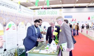 TECHNOLOGY AT WORK: Officials from the Presidency of the Grand Mosque and Prophet Mosque Affairs at the 42nd International exhibition of Inventions held in Switzerland to develop services for pilgrims. (AN photo)