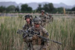 US soldiers patrol in Zharay district in Kandahar province, southern Afghanistan (reuters tickers)