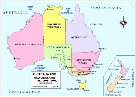 Australia is divided into 6 states: New South Wales, Victoria, Queensland, South Australia, Western Australia and Tasmania and 2 territories; the Australian Capital Territory and the Northern Territory.