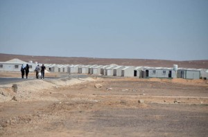 Syrian refugees are seen at the Azraq Refugee Camp, which was officially opened on Wednesday (Photo by Muath Freij )