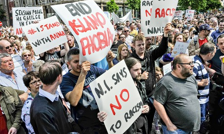Thousands marched at an anti-racism rally held in Belfast, where Peter Robinson was called on to apologise publicly to Muslims over his comments. Photograph: Stephen Barnes/baDemotix/Corbis