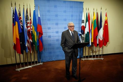 File - UN-Arab League Envoy to Syria Lakhdar Brahimi speaks to the media after Security Council consultations at the United Nations headquarters in New York May 13, 2014. REUTERS/Shannon Stapleton Read more: http://www.dailystar.com.lb/News/Middle-East/2014/May-15/256479-friends-of-syria-try-to-turn-words-into-action.ashx#ixzz31lOWgMz1  (The Daily Star :: Lebanon News :: http://www.dailystar.com.lb)