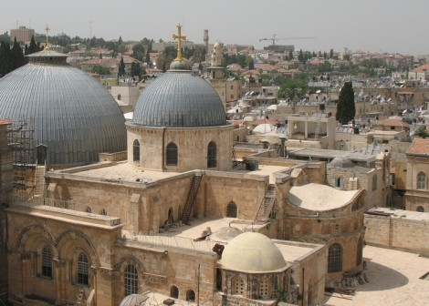 Exterior of the Church of the Holy Sepulcher: The site is venerated as Golgotha, where Jesus was put on cross