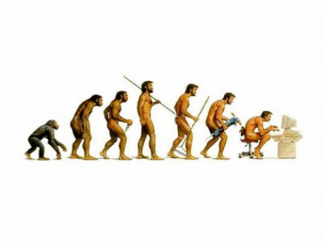 A cartoon to suggest evolution in the apes