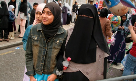 Muslim girls in Whitechapel, east London. Photograph: SION TOUHIG/NETWORK