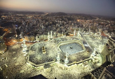 An aerial view shows Muslims circling the Kaaba inside and outside the Grand Mosque in Makkah, in 2006