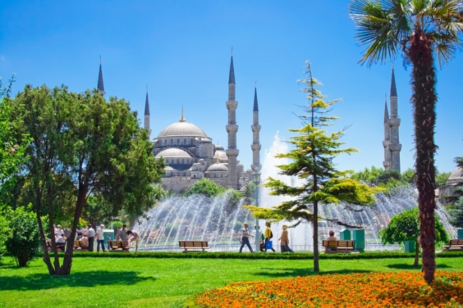 Blue mosque with water fountain