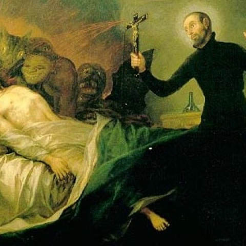 Painting by Francisco Goya of Saint Francis Borgia performing an exorcism