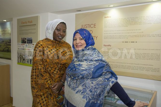 Naeema Ahmed (L) and Salima Bhunnoo (R) who attended the Pan-African Ahmadiyya Muslim Community event at the Baitul Futuh Mosque.