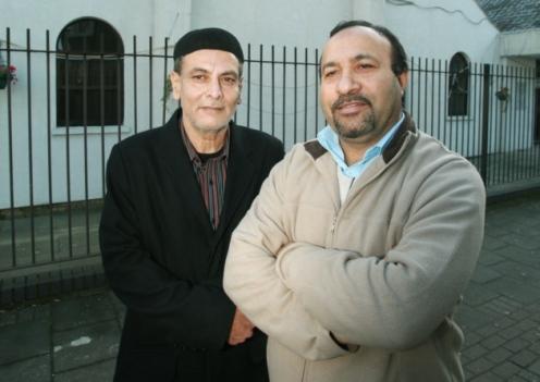 President Samiullah Tariq, left, and coordinator Mubashar Saddiqa, of the Ahmadiyaa Muslim Association at the Baitul Ahad mosque