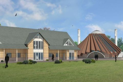 Artist's impression of redeveloped Islamabad site near Tilford, with the new mosque at its centre