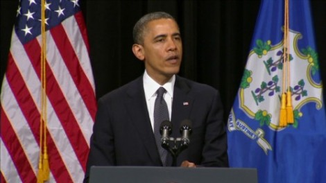 President Barack Obama addressing a memorial service in Newtown, Connecticut