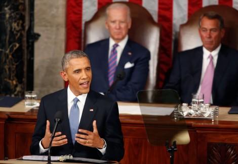 President Obama delivering State of the Union Speech, Vice President Biden and Speaker Boehner in back ground
