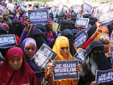 University students in Somalia's capital Mogadishu hold placards during a demonstration against satirical French weekly Charlie Hebdo. PHOTO: REUTERS