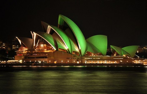 Sydney Opera House on St Patricks' Day