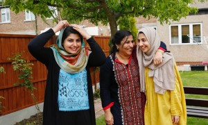 Sundas Ali (left) poses for a picture with her mother Naheed and her sister Shanza.— Reuters