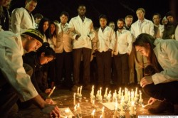 A vigil in the University after the brutal murder of the three Muslims