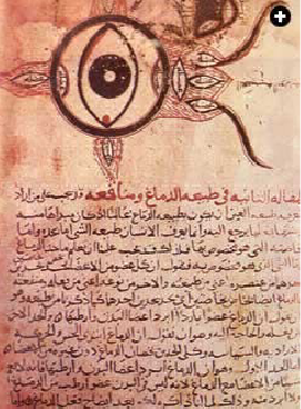 The earliest known medical description of the eye, from a ninth-century work by Hunayn ibn Ishaq, is shown in this copy of a 12th-century manuscript at the Institute for the History Arab-Islamic Science in Frankfurt