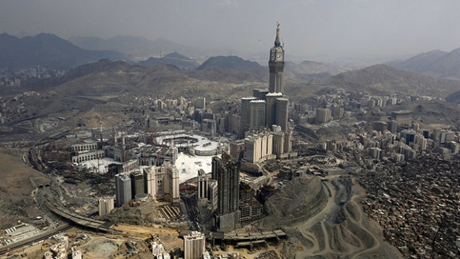 An aerial view is seen of the Grand Mosque on the second day of Eid al-Adha in the holy city of Mecca