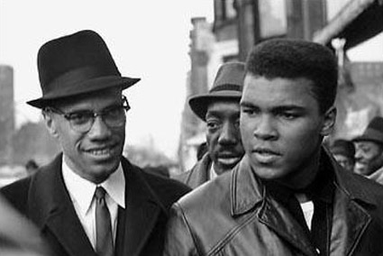Malcolm X with the most recognized Muslim alive, boxer Muhammad Ali in 1963