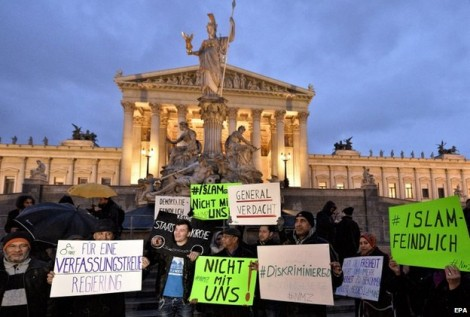 Protesters held a demonstration against the new law outside the parliament building in Vienna on Feb 24